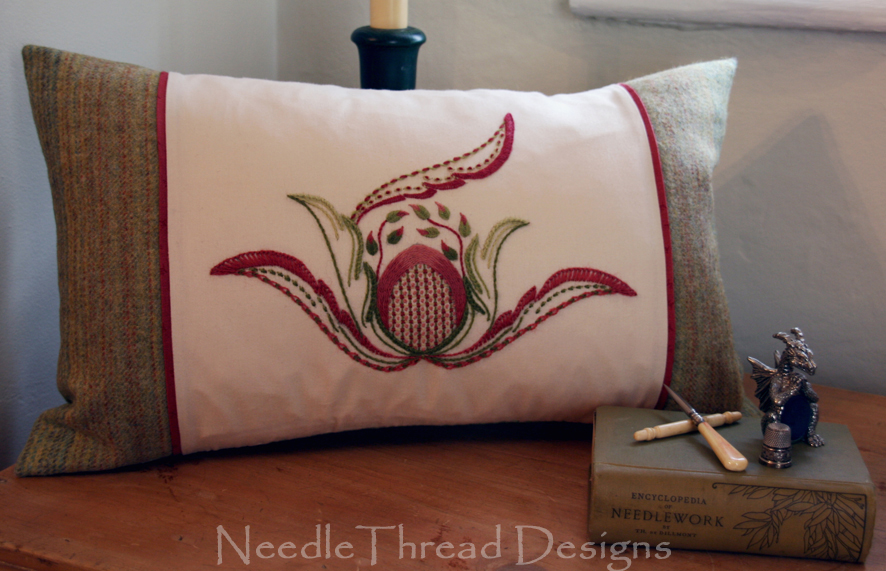 Summer Strawberry design made up into a cushion