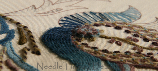 Crewel Work: jacobean design, partially worked with wool embroidery stitches