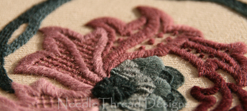 Crewel Work: close up of jacobean wool embroidery