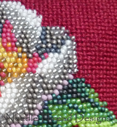 Victorian beading: close up of a beaded rose pincushion
